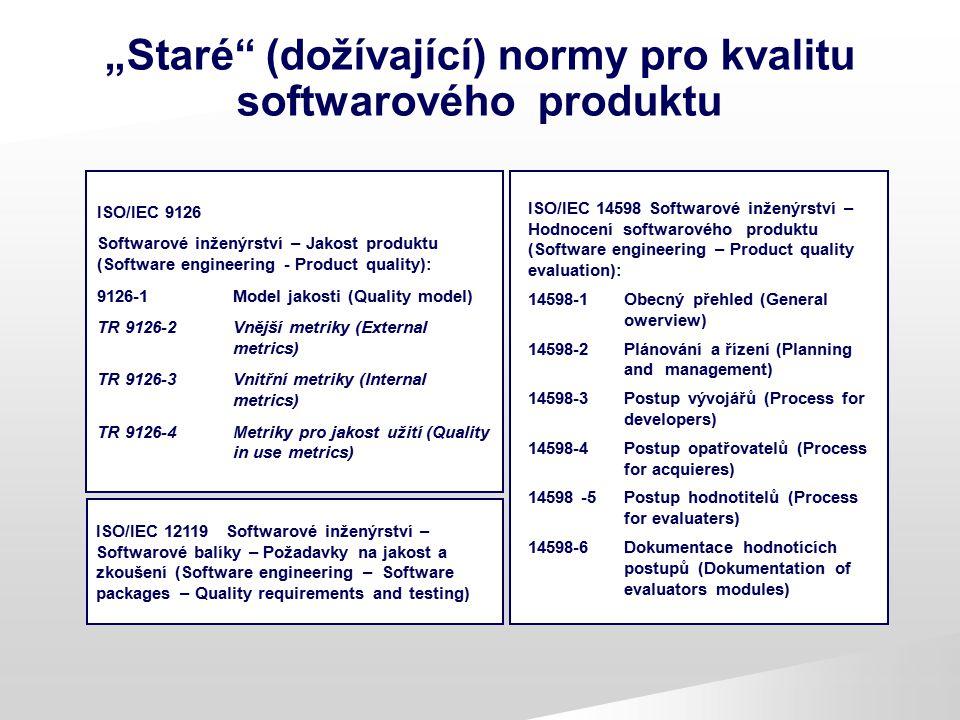 """""""Staré"""" (dožívající) normy pro kvalitu softwarového produktu ISO/IEC 9126 Softwarové inženýrství – Jakost produktu (Software engineering - Product qua"""