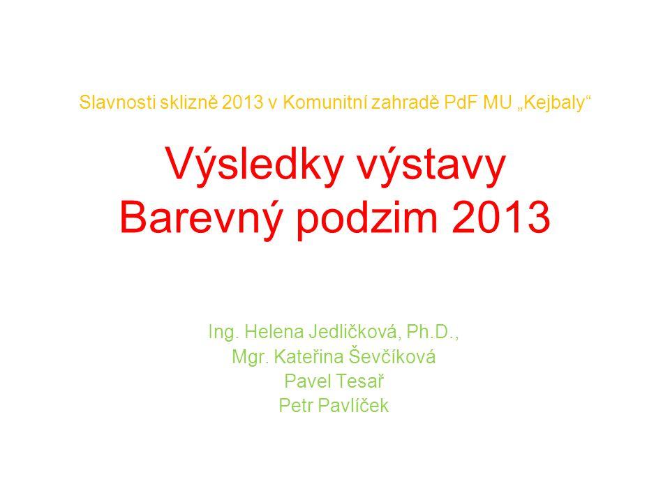 """Slavnosti sklizně 2013 v Komunitní zahradě PdF MU """"Kejbaly Výsledky výstavy Barevný podzim 2013 Ing."""