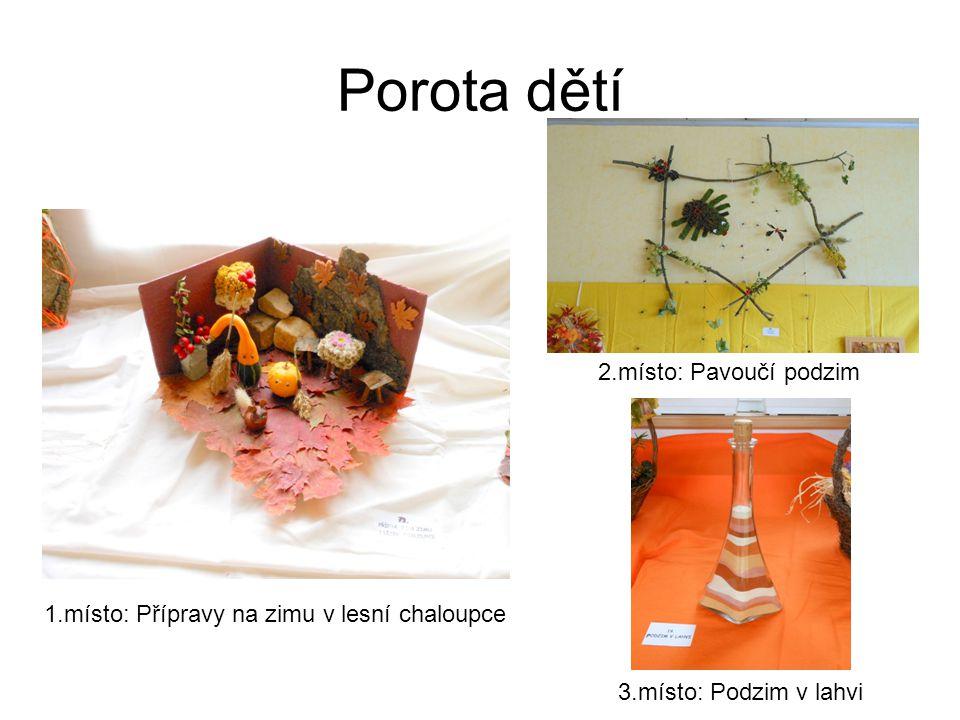 Porota dětí 1.místo: Přípravy na zimu v lesní chaloupce 2.místo: Pavoučí podzim 3.místo: Podzim v lahvi