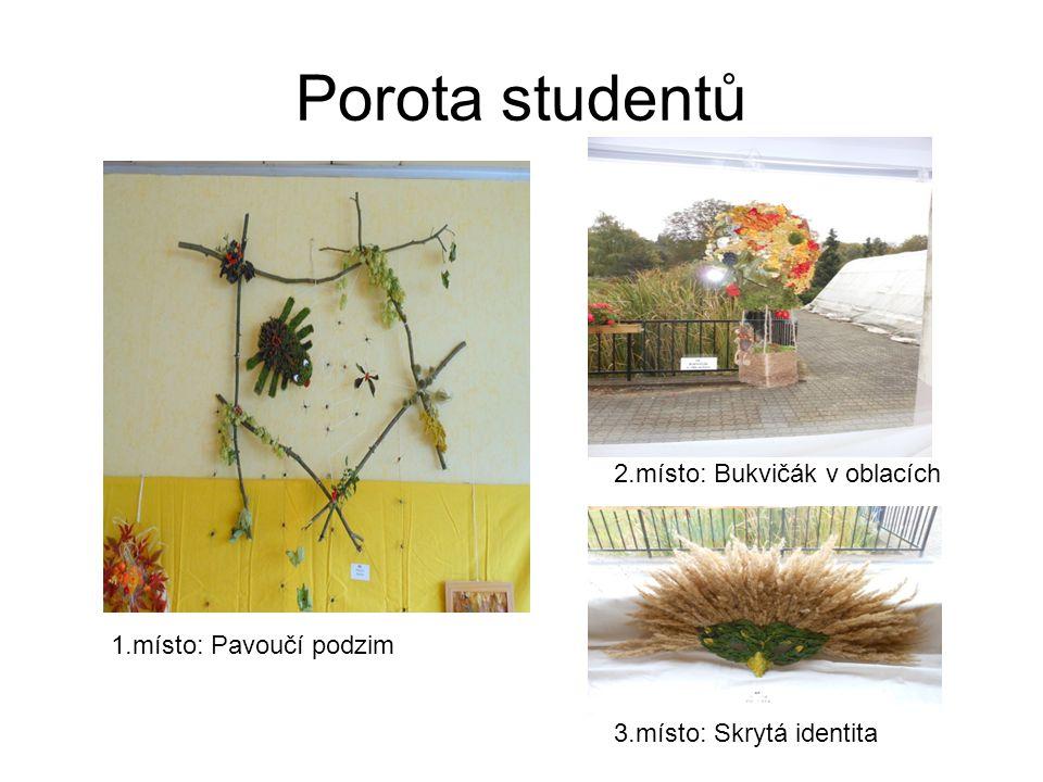 Porota studentů 1.místo: Pavoučí podzim 2.místo: Bukvičák v oblacích 3.místo: Skrytá identita
