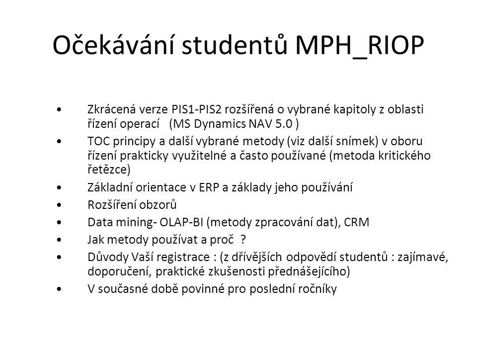 Očekávání studentů MPH_RIOP Zkrácená verze PIS1-PIS2 rozšířená o vybrané kapitoly z oblasti řízení operací (MS Dynamics NAV 5.0 ) TOC principy a další vybrané metody (viz další snímek) v oboru řízení prakticky využitelné a často používané (metoda kritického řetězce) Základní orientace v ERP a základy jeho používání Rozšíření obzorů Data mining- OLAP-BI (metody zpracování dat), CRM Jak metody používat a proč .