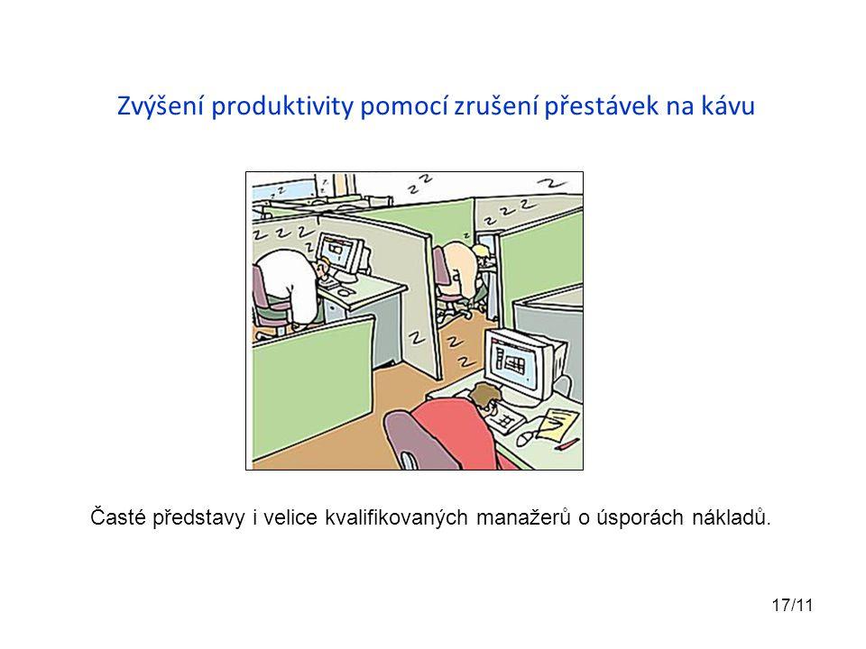 Zvýšení produktivity pomocí zrušení přestávek na kávu Časté představy i velice kvalifikovaných manažerů o úsporách nákladů. 17/11