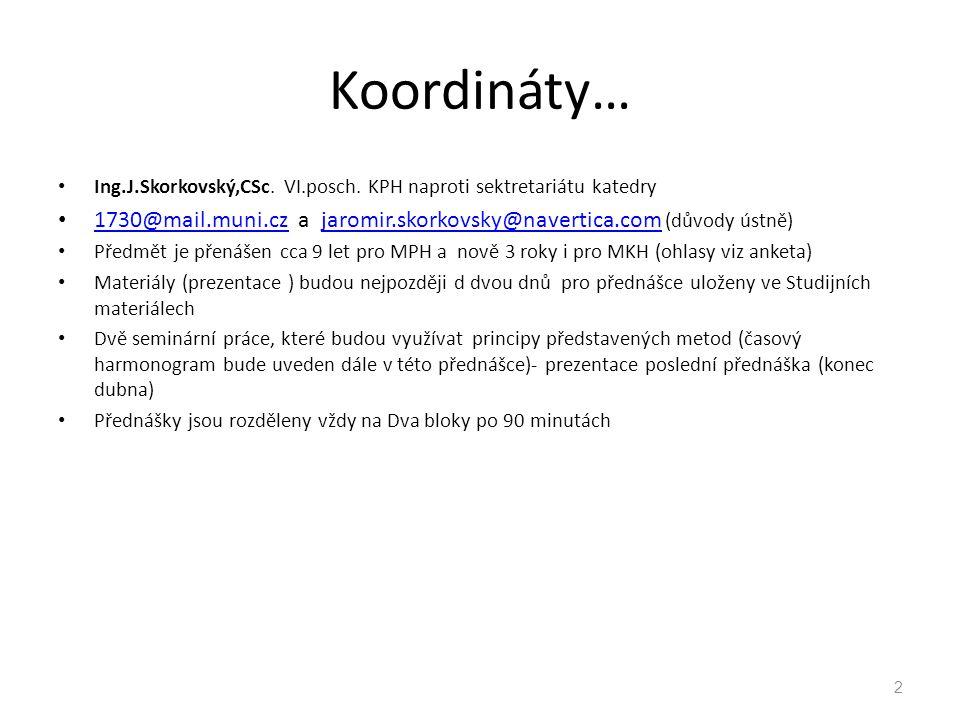 Koordináty… Ing.J.Skorkovský,CSc. VI.posch. KPH naproti sektretariátu katedry 1730@mail.muni.cz a jaromir.skorkovsky@navertica.com (důvody ústně) 1730