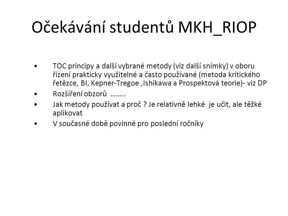 Očekávání studentů MKH_RIOP TOC principy a další vybrané metody (viz další snímky) v oboru řízení prakticky využitelné a často používané (metoda kriti