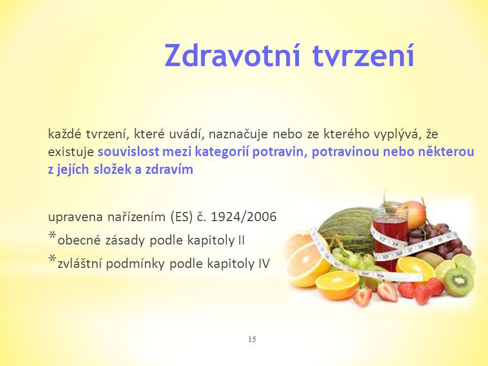 15 Zdravotní tvrzení každé tvrzení, které uvádí, naznačuje nebo ze kterého vyplývá, že existuje souvislost mezi kategorií potravin, potravinou nebo ně