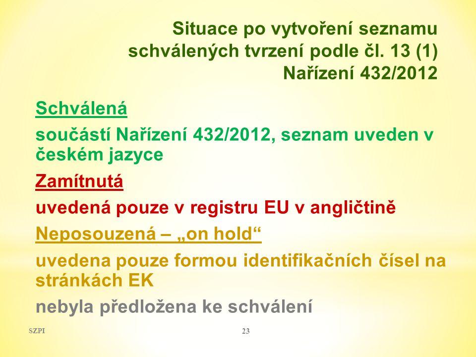 """Schválená součástí Nařízení 432/2012, seznam uveden v českém jazyce Zamítnutá uvedená pouze v registru EU v angličtině Neposouzená – """"on hold"""" uvedena"""
