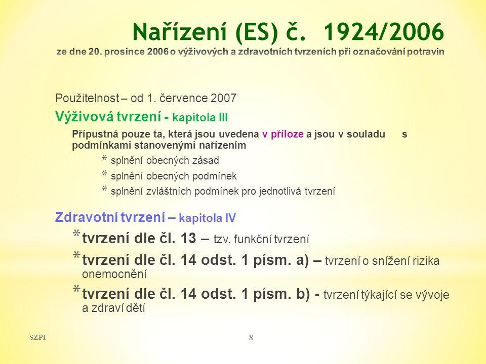 SZPI 8 Použitelnost – od 1. července 2007 Výživová tvrzení - kapitola III Přípustná pouze ta, která jsou uvedena v příloze a jsou v souladu s podmínka
