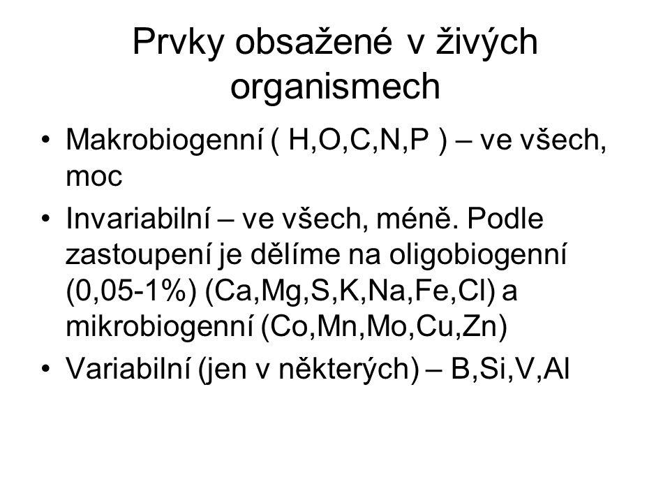 Prvky obsažené v živých organismech Makrobiogenní ( H,O,C,N,P ) – ve všech, moc Invariabilní – ve všech, méně. Podle zastoupení je dělíme na oligobiog