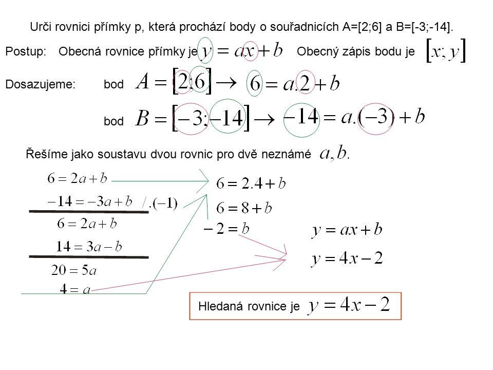 Urči rovnici přímky p, která prochází body o souřadnicích A=[2;6] a B=[-3;-14].