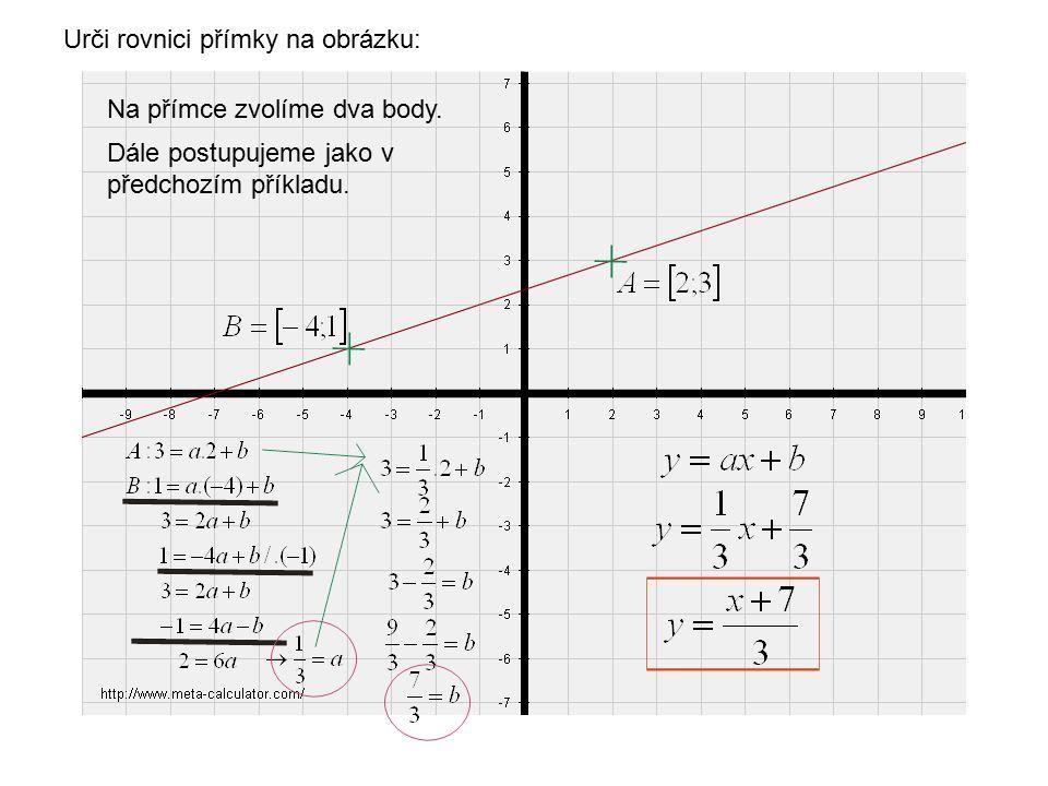 Urči rovnici přímky na obrázku.