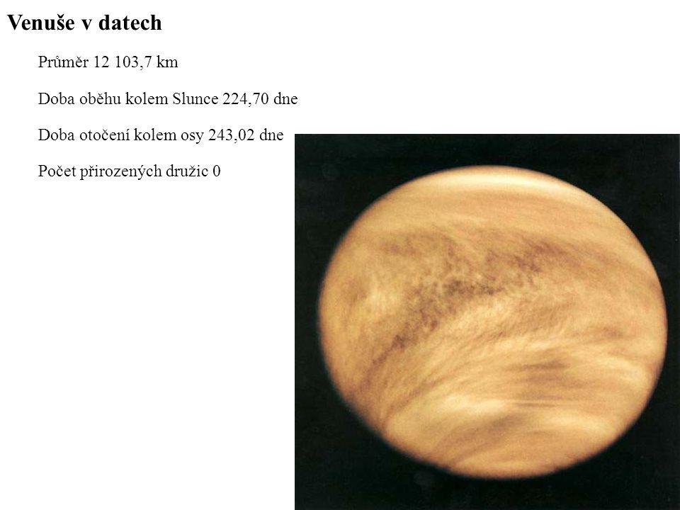Venuše v datech Průměr 12 103,7 km Doba oběhu kolem Slunce 224,70 dne Doba otočení kolem osy 243,02 dne Počet přirozených družic 0