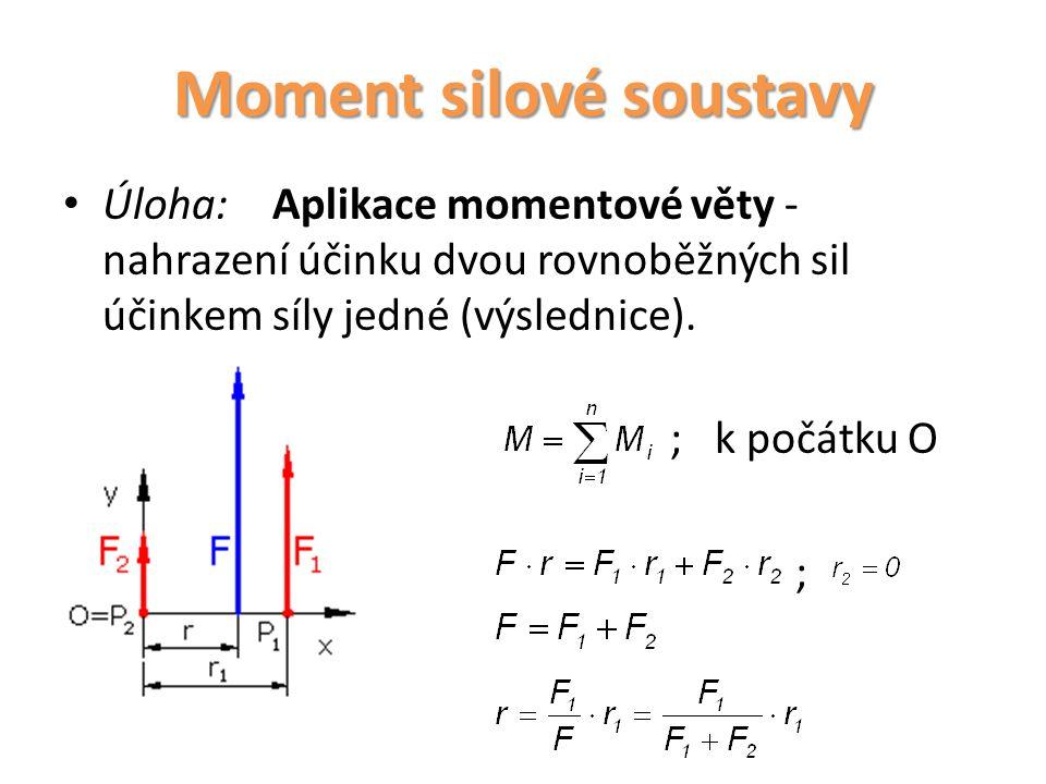 Úloha:Aplikace momentové věty - nahrazení účinku dvou rovnoběžných sil účinkem síly jedné (výslednice). ; k počátku O ; Moment silové soustavy