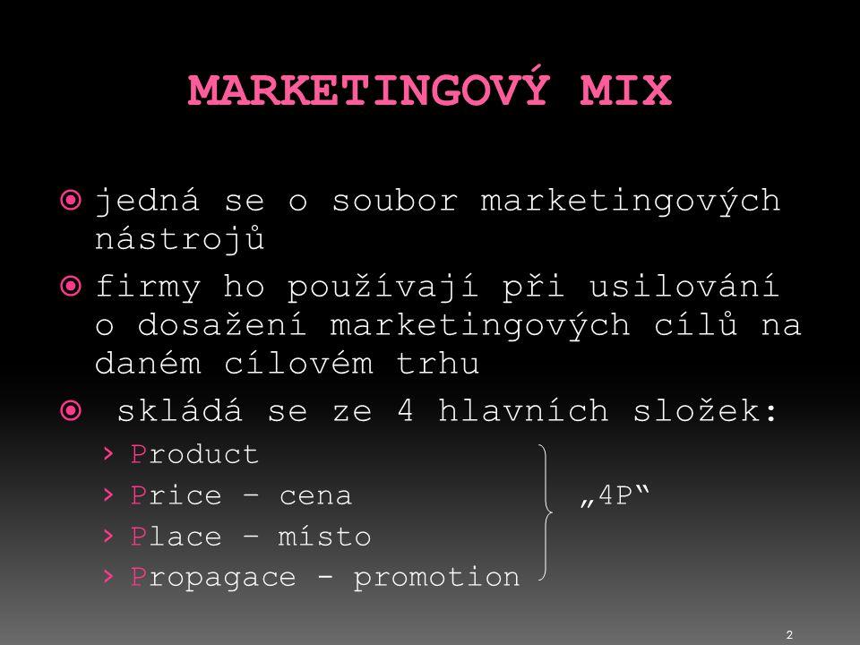 2  jedná se o soubor marketingových nástrojů  firmy ho používají při usilování o dosažení marketingových cílů na daném cílovém trhu  skládá se ze 4