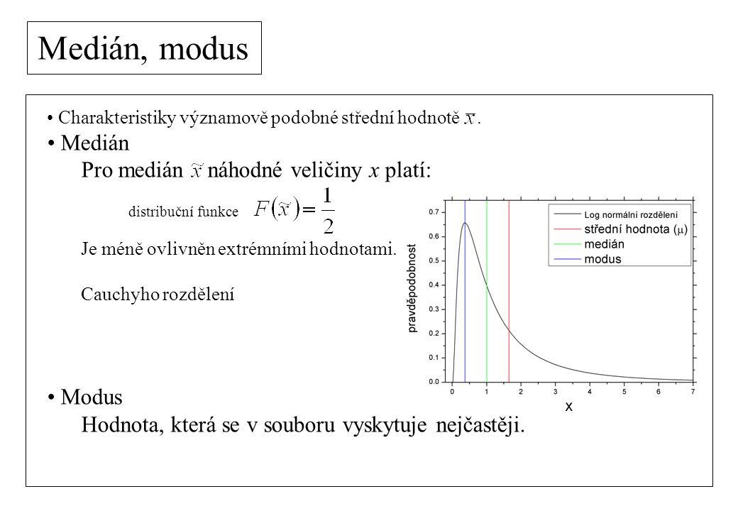 Medián, modus Charakteristiky významově podobné střední hodnotě.