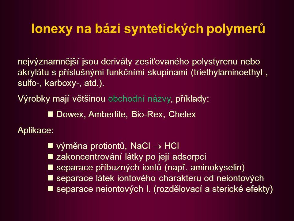 Ionexy na bázi celulosy a jiných polysacharidů Syntetické polymerní nosiče nevhodné pro chromatografii biopolymerů (velké molekuly, denaturace).