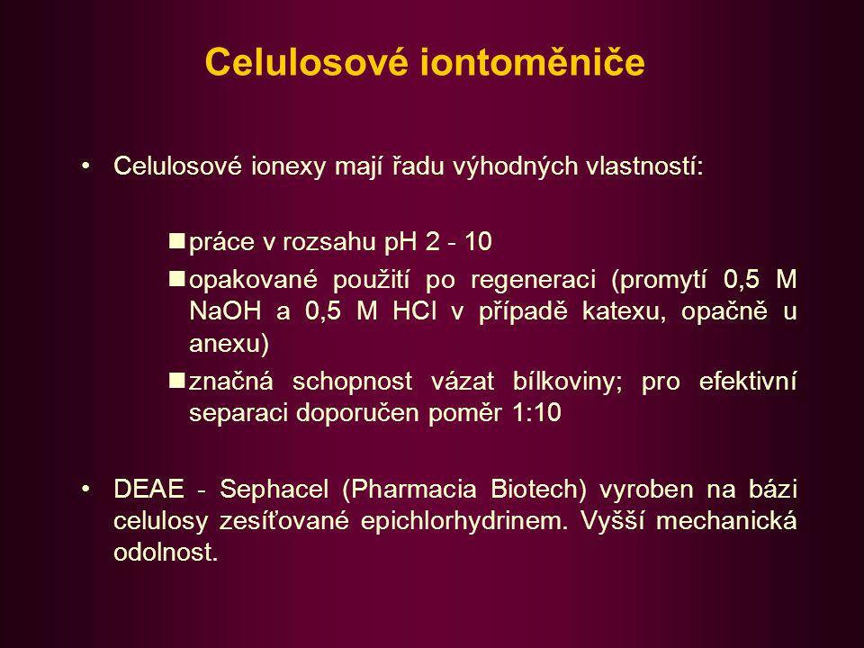 Dextranové iontoměniče Na bázi polysacharidu dextranu (bakteriální produkce) zesíťovaného epichlorhydrinem.