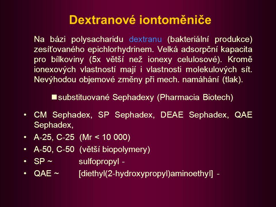 Agarosové iontoměniče Na bázi polysacharidu agarosy (součást směsi nabitých a neutrálních polysacharidů zvané agar).