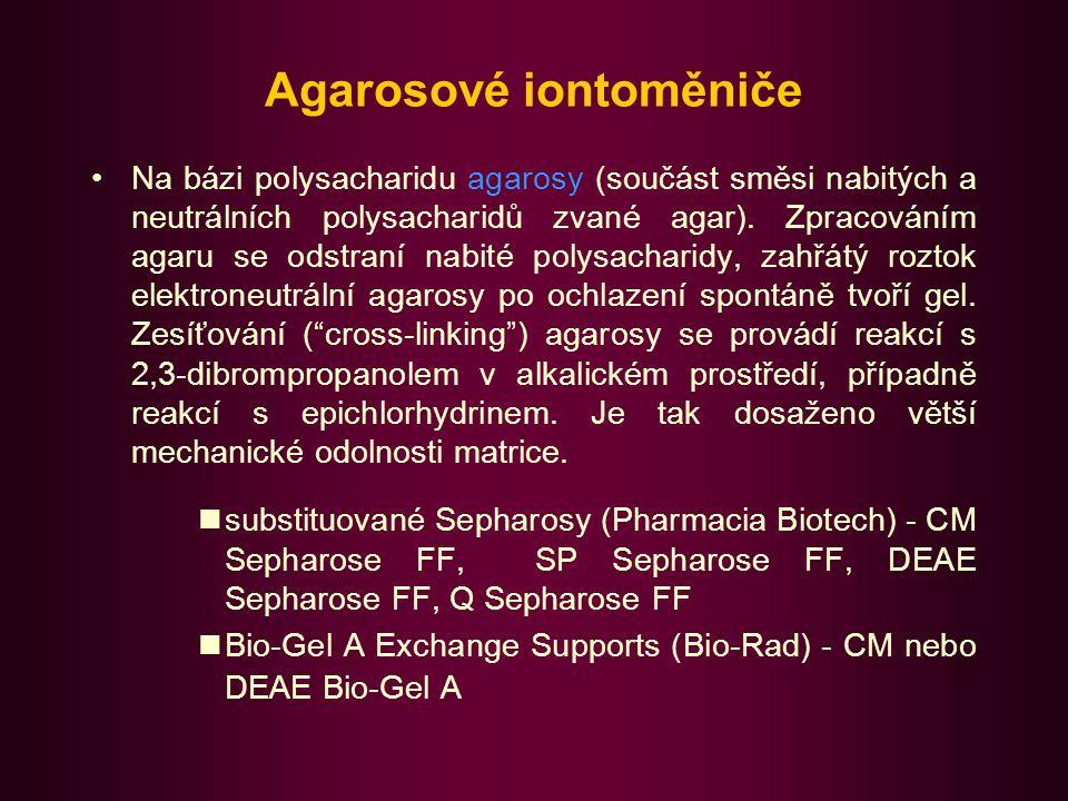 Iontoměniče pro purifikaci biopolymerů pod různými obchodními názvy jako komerčně plněné plastové kolony pro FPLC: kolony Mono S HR a Mono Q HR fy Pharmacia Biotech; matrice z hydrofilní polyetherové pryskyřice Mono S HR -sulfomethylová skupina Mono Q HR-kvarterní amin kolony Bio-Scale a UNO fy Bio-Rad Bio-Scale S, Q, DEAE; Uno Q, Uno S Do této skupiny lze zařadit i iontoměniče na bázi glykolmethakrylátu (Spheron C, S, DEAE, TEAE ; Lachema)