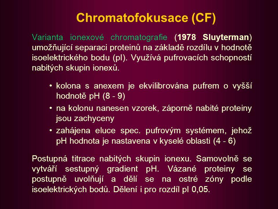 Chromatofokusace II Za použití standardů lze určit isoelektrický bod proteinu.