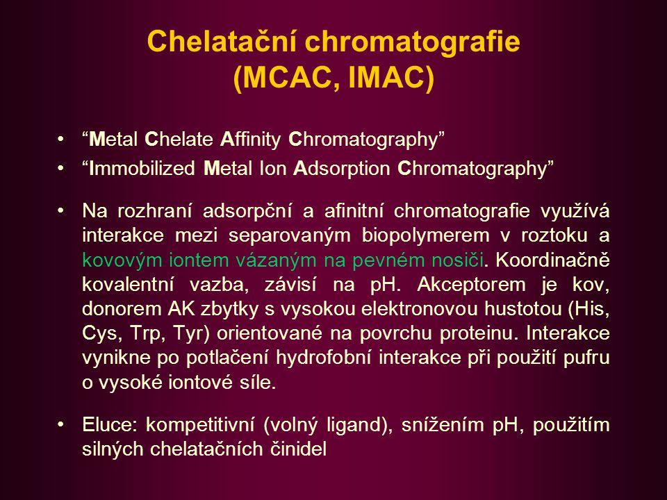 Chelatační chromatografie Jako nosič se používá především Sepharose s navázaným chelatačním ligandem, iminodiacetátem (IDA).