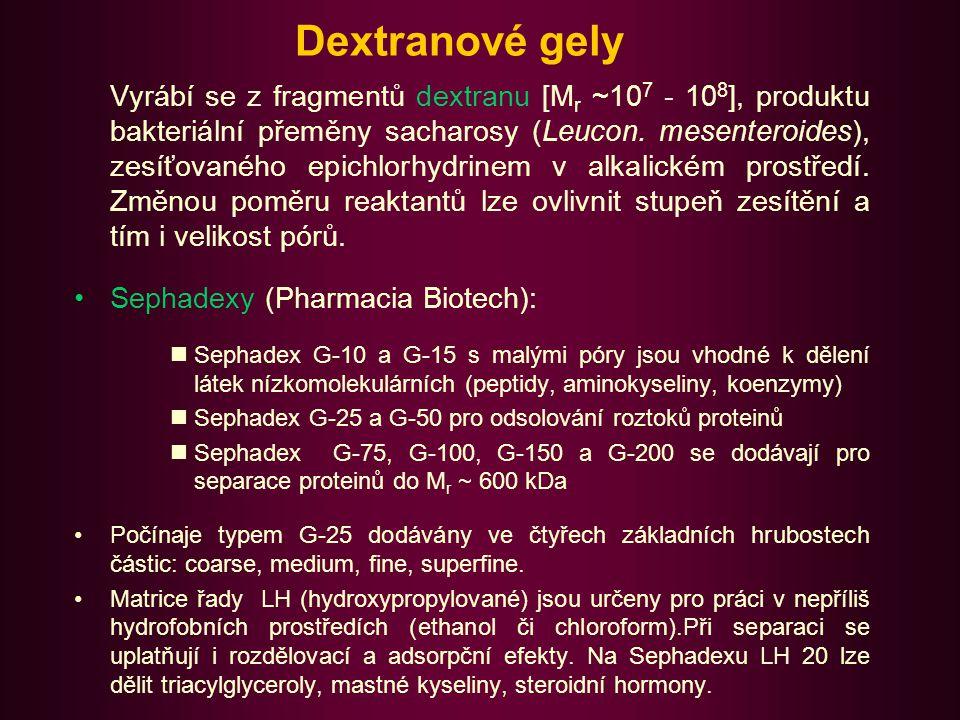 Agarosové gely Agarosa je polysacharid získávaný purifikací agaru z mořských řas.