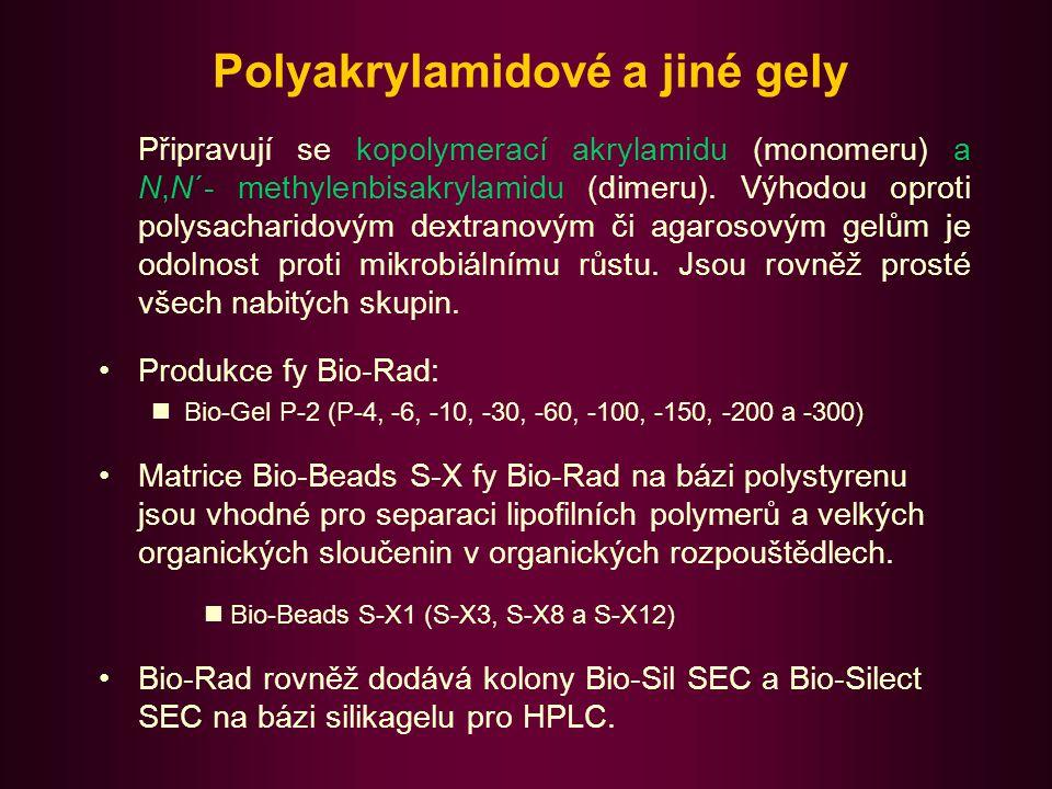 Další materiály pro GPC II Superdex fy Pharmacia Biotech, jedná se o kompozitní směs dextranu a zesíťované agarosy.