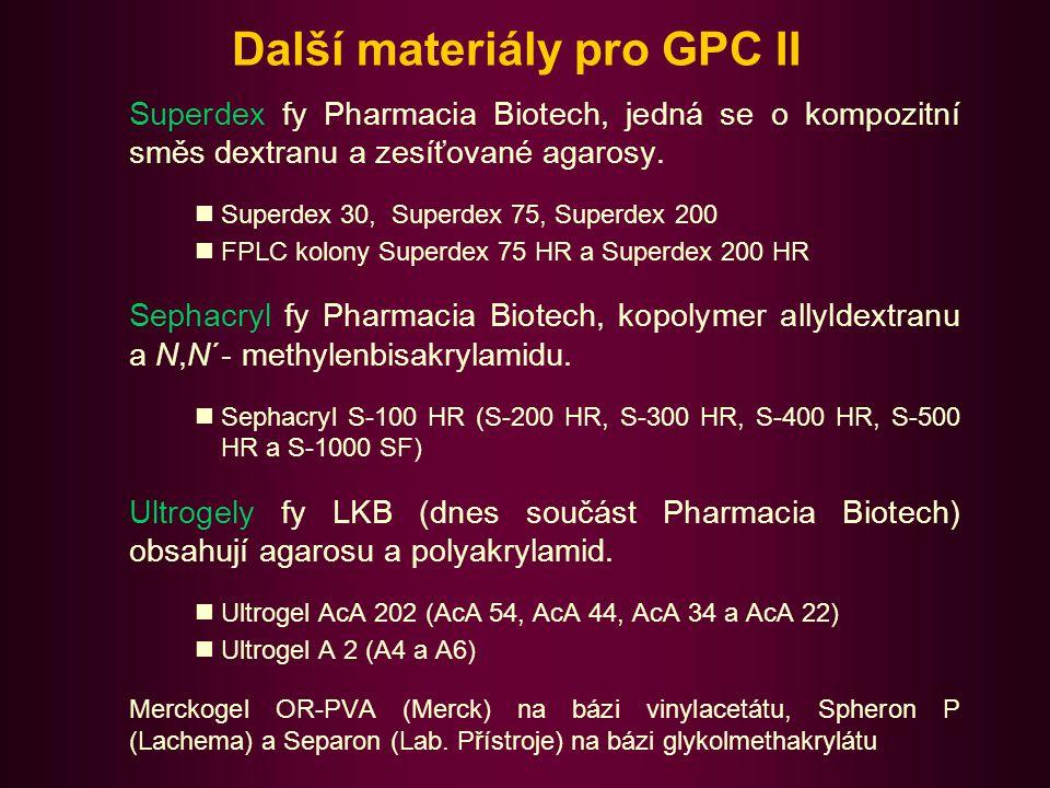 Aplikace GPC 1.Zakoncentrování roztoků bipolymerů Přídavkem suchého Sephadexu G-25.