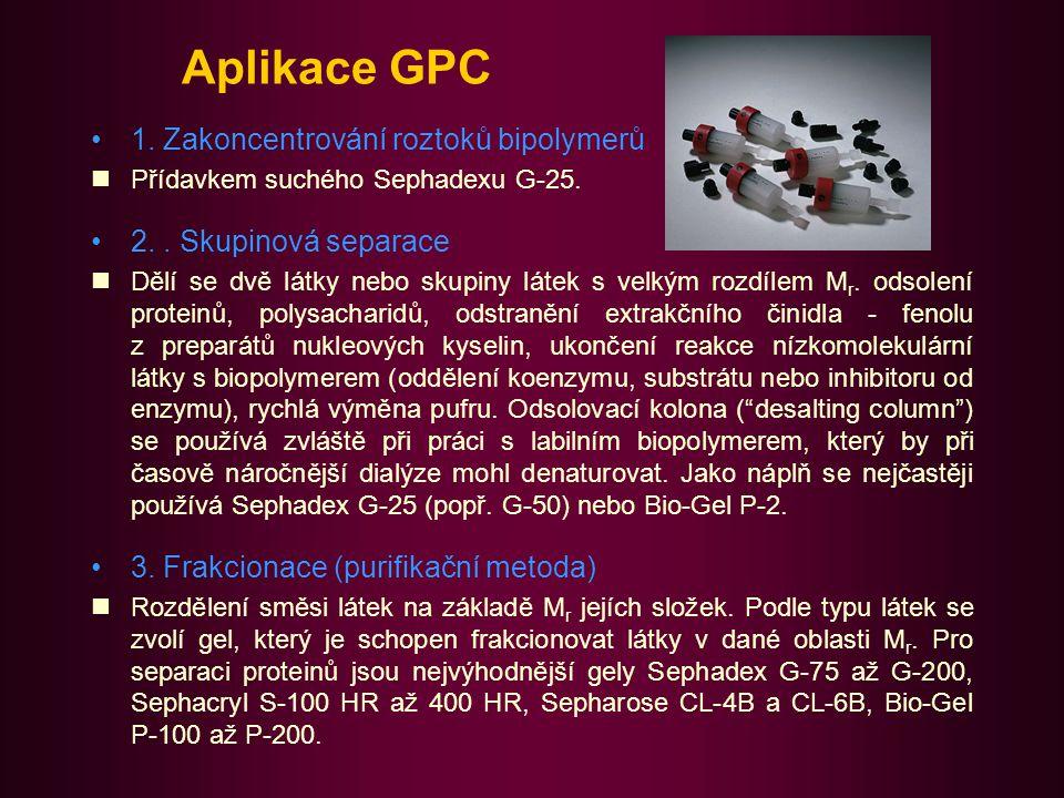 Aplikace gelové chromatografie II 4.