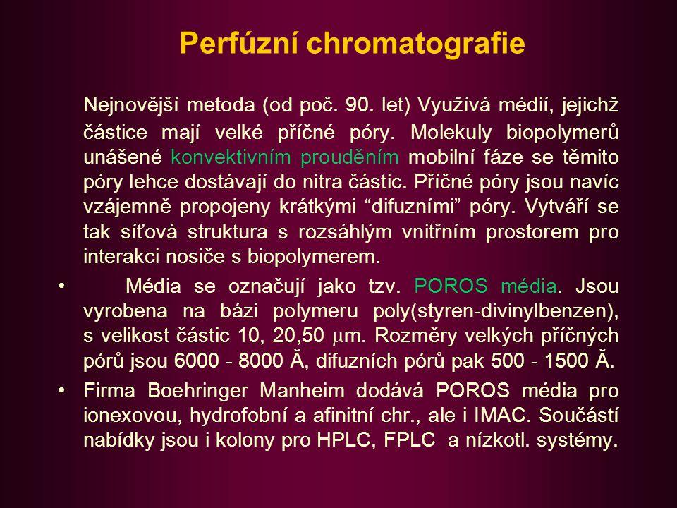 Perfúzní chromatografie - princip Průtokem mobilní fáze vytváří napříč každou částicí média rozdíl tlaku, který indukuje konvektivní tok příčnými póry (perfúze).