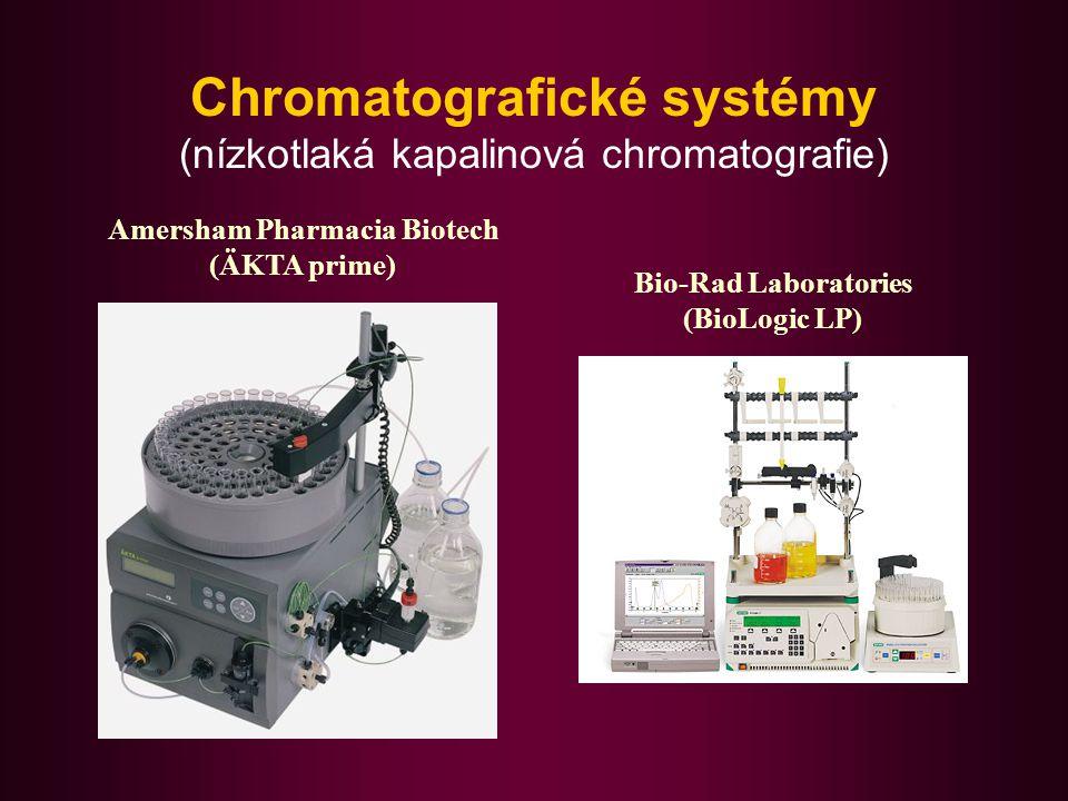 Chromatografické systémy (střednětlaká kapalinová chromatografie) Amersham Pharmacia Biotech (AKTA purifier) Bio-Rad Laboratories (BioLogic DuoFlow)