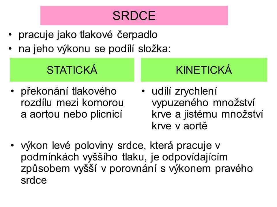 SRDCE pracuje jako tlakové čerpadlo na jeho výkonu se podílí složka: STATICKÁKINETICKÁ překonání tlakového rozdílu mezi komorou a aortou nebo plicnicí
