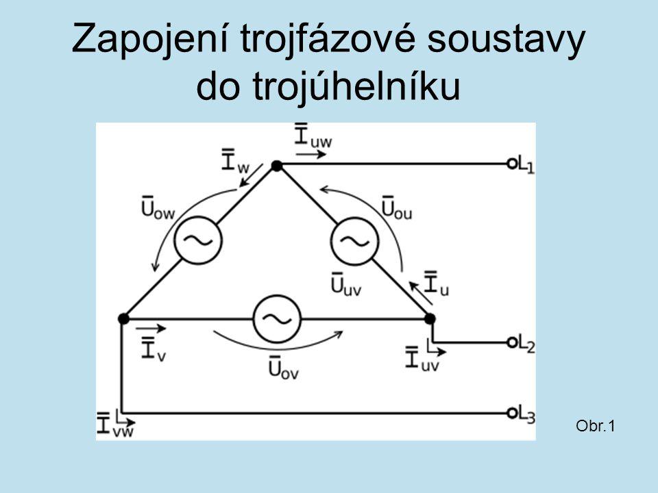 Zapojení trojfázové soustavy do hvězdy bez vyvedeného středního vodiče Obr. 2