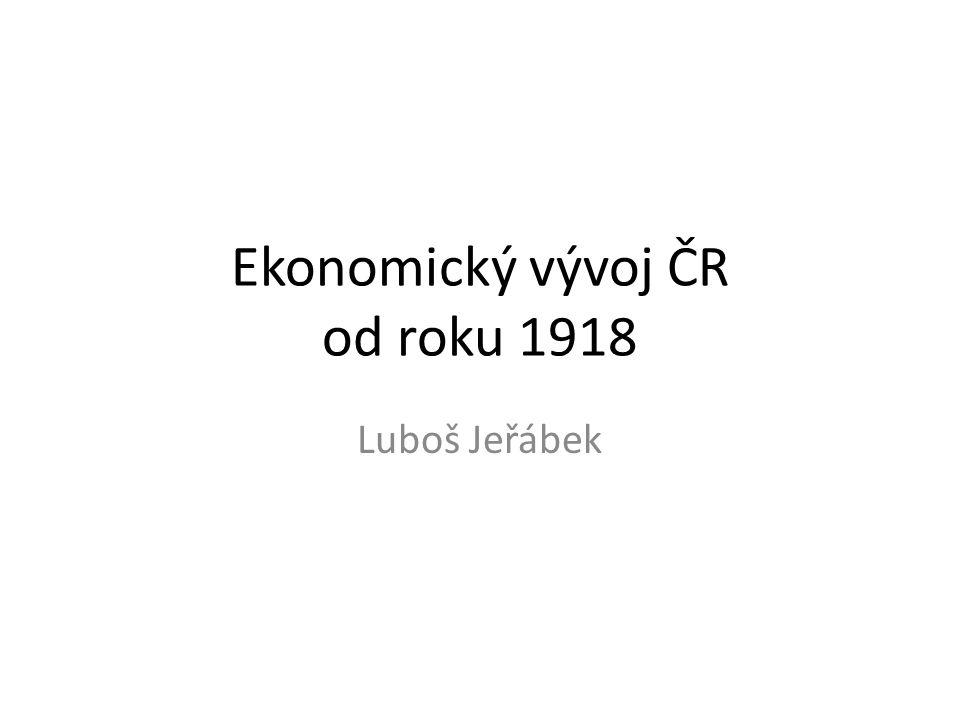 Vývoj od roku 1918 Již na počátku 20.stol. Patřilo území ČR mezi hospodářsky nejvyspělejší země.