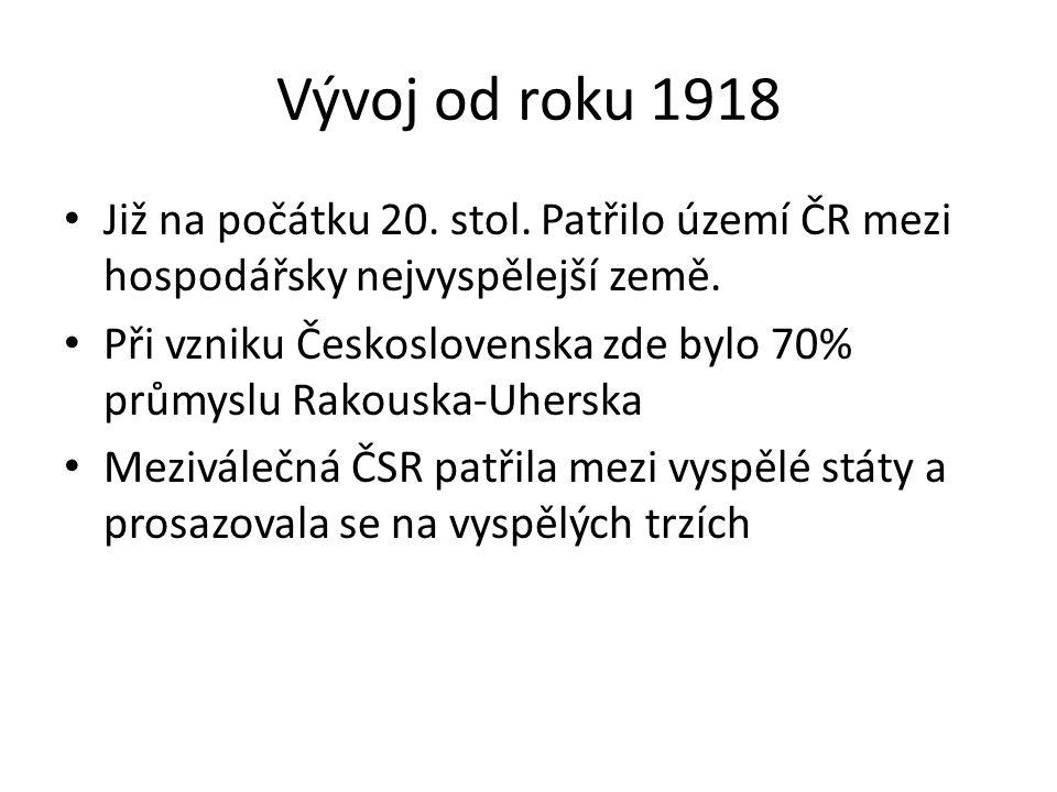 Vývoj od roku 1918 Již na počátku 20. stol. Patřilo území ČR mezi hospodářsky nejvyspělejší země. Při vzniku Československa zde bylo 70% průmyslu Rako