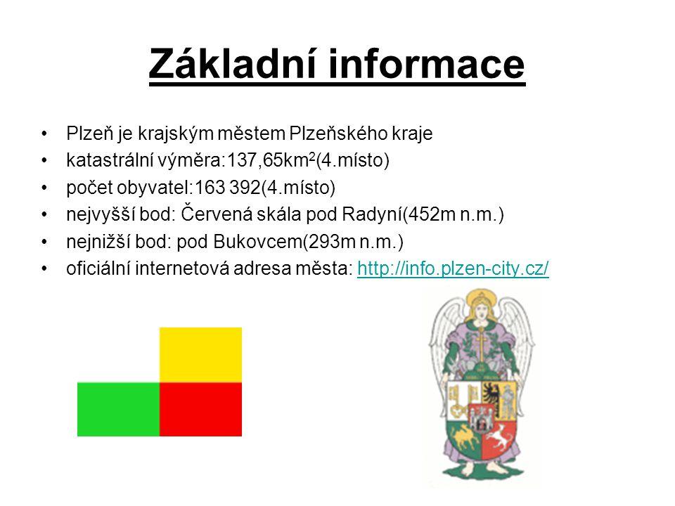 Základní informace Plzeň je krajským městem Plzeňského kraje katastrální výměra:137,65km 2 (4.místo) počet obyvatel:163 392(4.místo) nejvyšší bod: Červená skála pod Radyní(452m n.m.) nejnižší bod: pod Bukovcem(293m n.m.) oficiální internetová adresa města: http://info.plzen-city.cz/http://info.plzen-city.cz/