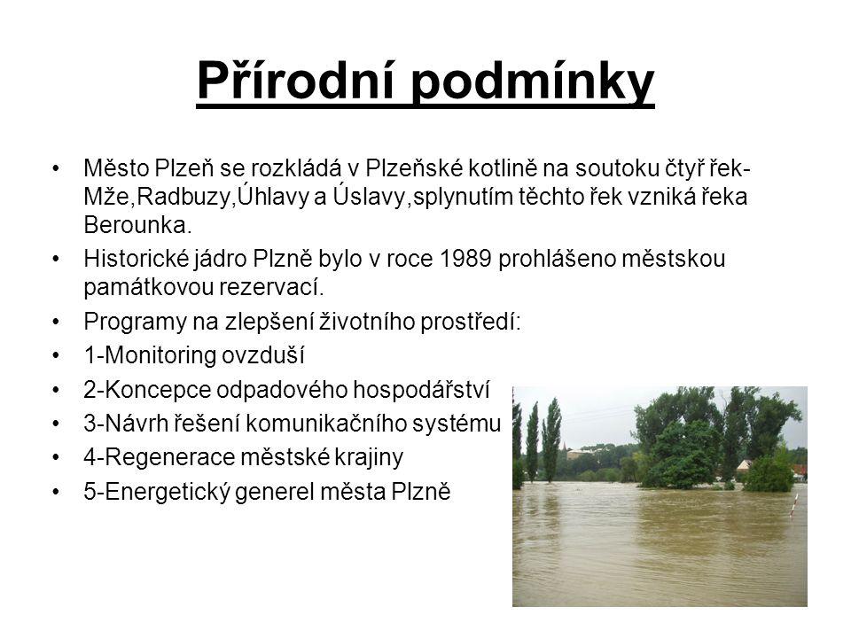 Přírodní podmínky Město Plzeň se rozkládá v Plzeňské kotlině na soutoku čtyř řek- Mže,Radbuzy,Úhlavy a Úslavy,splynutím těchto řek vzniká řeka Berounka.