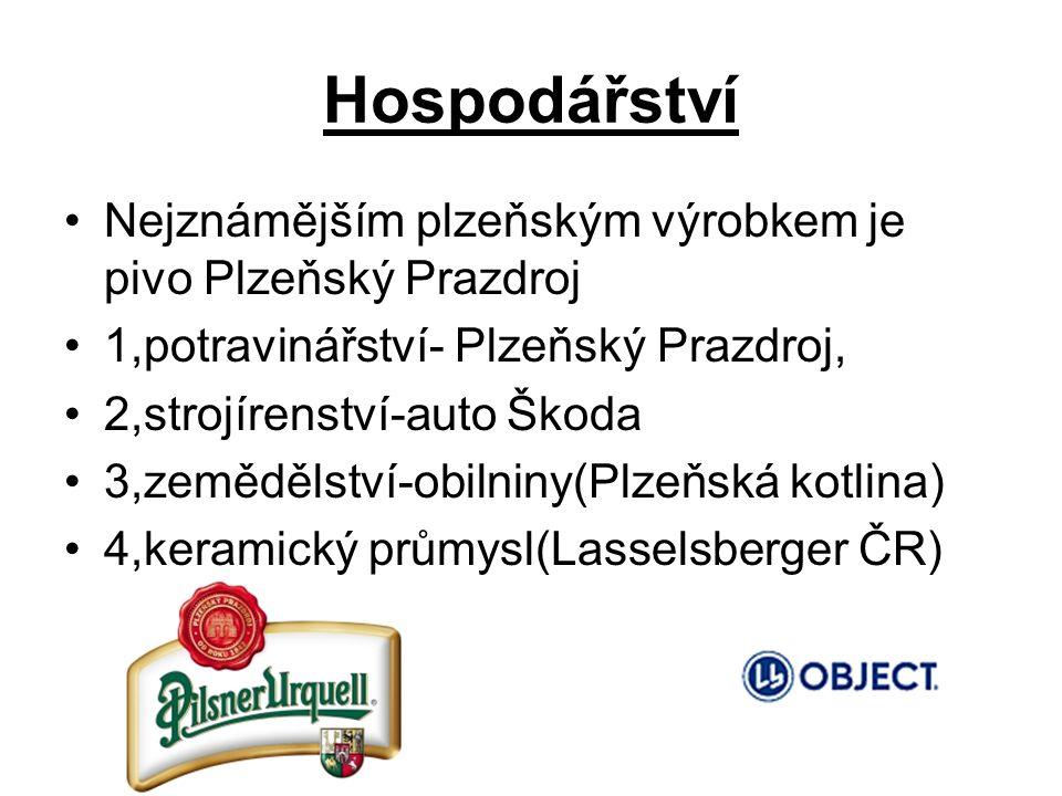 Hospodářství Nejznámějším plzeňským výrobkem je pivo Plzeňský Prazdroj 1,potravinářství- Plzeňský Prazdroj, 2,strojírenství-auto Škoda 3,zemědělství-obilniny(Plzeňská kotlina) 4,keramický průmysl(Lasselsberger ČR)