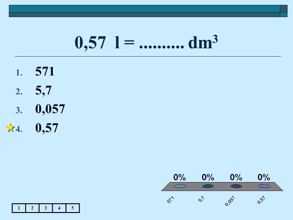 0,57 l =.......... dm 3 12345 1. 571 2. 5,7 3. 0,057 4. 0,57