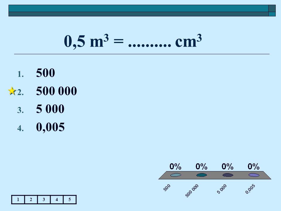 0,5 m 3 =.......... cm 3 1. 500 2. 500 000 3. 5 000 4. 0,005 12345