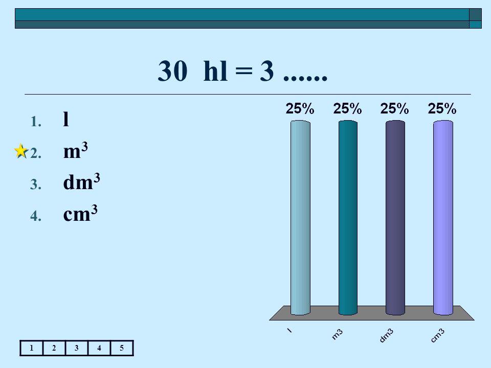 30 hl = 3...... 1. l 2. m 3 3. dm 3 4. cm 3 12345