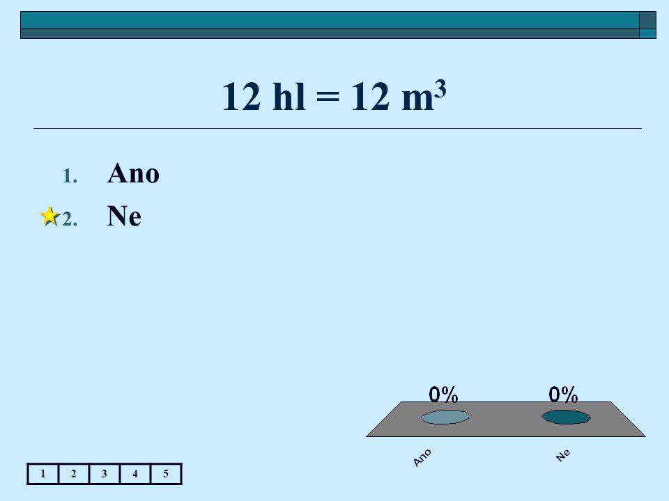 12 hl = 12 m 3 1. Ano 2. Ne 12345