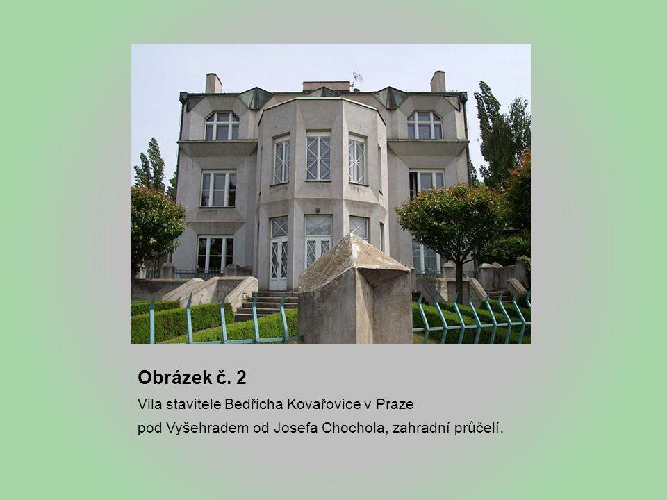 Obrázek č. 2 Vila stavitele Bedřicha Kovařovice v Praze pod Vyšehradem od Josefa Chochola, zahradní průčelí.