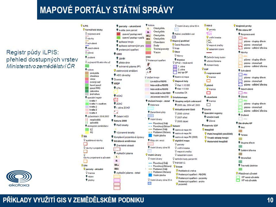 MAPOVÉ PORTÁLY STÁTNÍ SPRÁVY PŘÍKLADY VYUŽITÍ GIS V ZEMĚDĚLSKÉM PODNIKU10 Registr půdy iLPIS: přehled dostupných vrstev Ministerstvo zemědělství ČR
