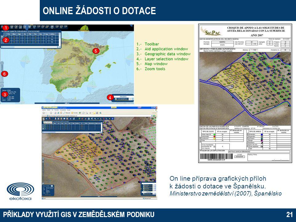ONLINE ŽÁDOSTI O DOTACE PŘÍKLADY VYUŽITÍ GIS V ZEMĚDĚLSKÉM PODNIKU21 On line příprava grafických příloh k žádosti o dotace ve Španělsku. Ministerstvo