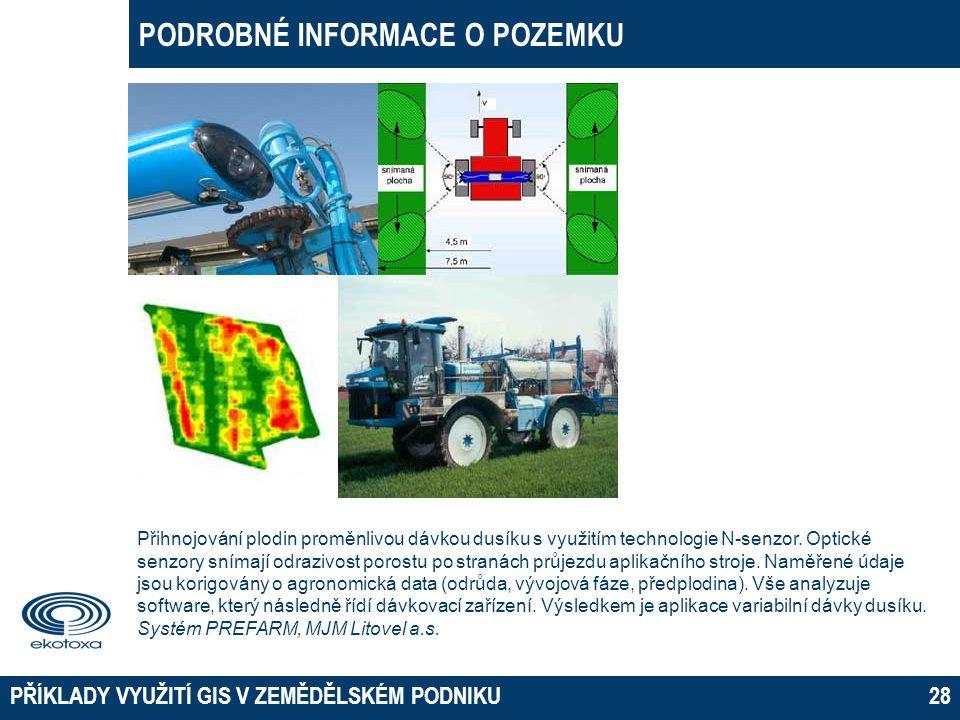 PODROBNÉ INFORMACE O POZEMKU PŘÍKLADY VYUŽITÍ GIS V ZEMĚDĚLSKÉM PODNIKU28 Přihnojování plodin proměnlivou dávkou dusíku s využitím technologie N-senzo