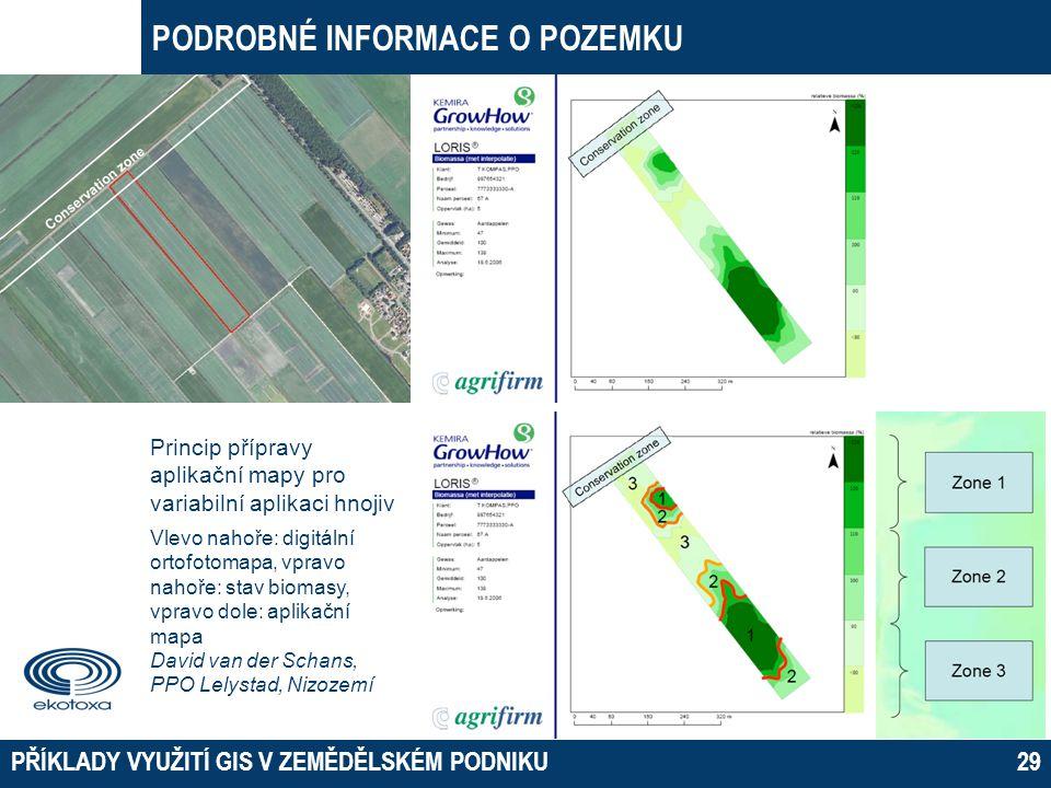 PODROBNÉ INFORMACE O POZEMKU PŘÍKLADY VYUŽITÍ GIS V ZEMĚDĚLSKÉM PODNIKU29 Princip přípravy aplikační mapy pro variabilní aplikaci hnojiv Vlevo nahoře: