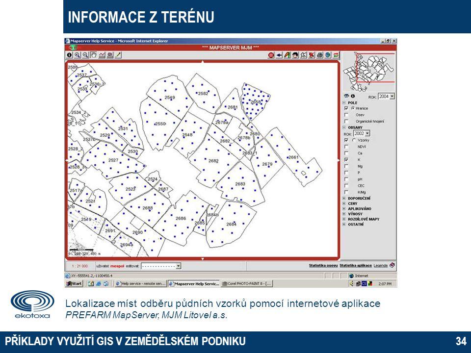 INFORMACE Z TERÉNU PŘÍKLADY VYUŽITÍ GIS V ZEMĚDĚLSKÉM PODNIKU34 Lokalizace míst odběru půdních vzorků pomocí internetové aplikace PREFARM MapServer, M
