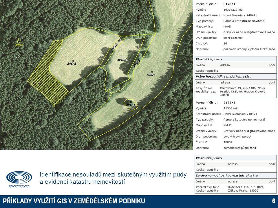  Vlastnictví a užívání zemědělské půdy  Mapové portály státní správy  Komunikace se státní správou  Online žádosti o dotace  Podrobné informace o pozemku Výnosové mapy Půdní vlastnosti Monitoring biomasy Přesné zemědělství - aplikační mapy  Informace z terénu  Informační systémy o půdě INFORMAČNÍ SYSTÉM O PŮDĚ PŘÍKLADY VYUŽITÍ GIS V ZEMĚDĚLSKÉM PODNIKU37