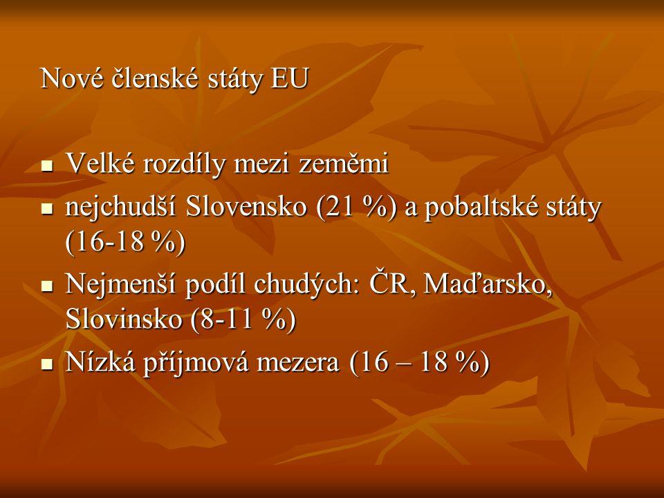 Nové členské státy EU Velké rozdíly mezi zeměmi Velké rozdíly mezi zeměmi nejchudší Slovensko (21 %) a pobaltské státy (16-18 %) nejchudší Slovensko (