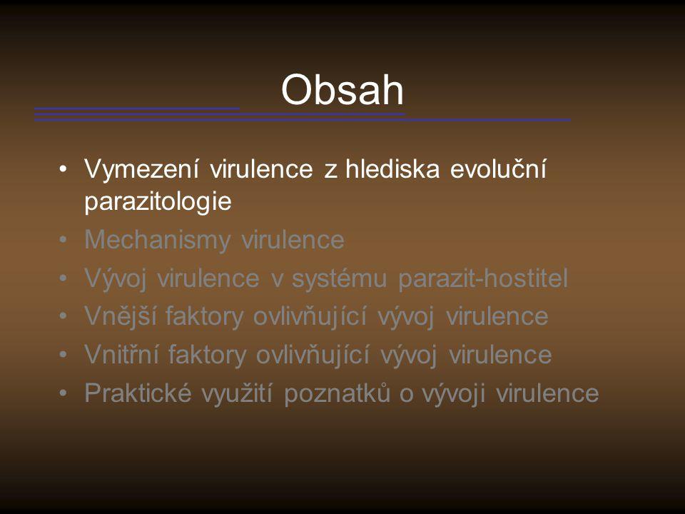 Obsah Vymezení virulence z hlediska evoluční parazitologie Mechanismy virulence Vývoj virulence v systému parazit-hostitel Vnější faktory ovlivňující vývoj virulence Vnitřní faktory ovlivňující vývoj virulence Praktické využití poznatků o vývoji virulence